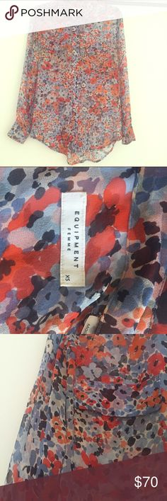 Equipment Fr Signature Cherry Blossom Print Blouse Perfect for 4th of July celebrations! Make me an offer fernmaylacey /at G mail. Gorgeous 100% silk sheer Equipment Femme Signature Blouse. Good condition, faint discolouration under arms but not noticeable when worn. Will look fab with white shorts & pants! Equipment Tops Blouses