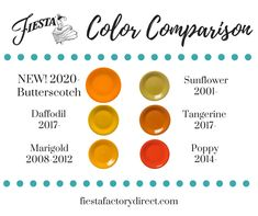 Fiesta® Dinnerware Color Comparisons with New Fiesta® 2020 color Butterscotch Fiesta Ware Colors, Fiesta Ware Dishes, Cute Kitchen, Kitchen Stuff, Kitchen Ideas, Kitchen Gadgets, Fiesta Kitchen, Maple Kitchen, Vintage Dinnerware