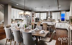 Ascend Model Kitchen - 3328 sq ft Model - Epic Homes, Leyden Rock, Arvada Colorado Broomfield Colorado, Arvada Colorado, Colorado Homes, Nook, Granite, Building A House, New Homes, Floor Plans, House Design