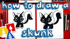 VideoTutorial How To Draw A Cartoon Skunk Doodle Drawings, Cartoon Drawings, Easy Drawings, Art For Kids Hub, Art Hub, Unicorn Wallpaper Cute, Directed Drawing, Hand Lettering Alphabet, A Cartoon