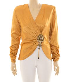 Size Medium (estimate) - Pale orange satin feel long sleeve top with three quarter ruched sleeves and covered button on sleeve end, low crossover V on front, Pale Orange, Women's Tops, Long Sleeve Tops, Vintage Fashion, Ruffle Blouse, Pullover, Womens Fashion, Sleeves, Shirts