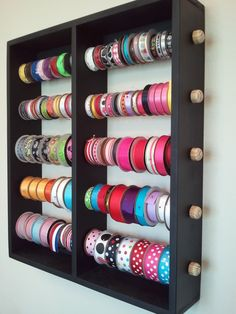 My fabulous step-dad made this for me! Organized ribbons at last! Yay!