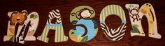 Safari Theme Custom Painted Wooden Nursery Letters by carterkk