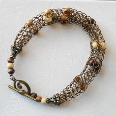 Copper Viking Knit bracelet with wood beads and swirl clasp