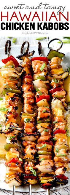 Grilled (or broiled) Hawaiian Chicken Kabobs - this is my new favorite grill recipe! the chicken is so juicy and flavorful and the sweet and sour Hawaiian Sauce (that doubles as a marinade) is out of (Grilling Recipes Pineapple) Hawaiian Chicken Kabobs, Grilled Chicken Kabobs, Chicken Kabob Recipes, Steak Kabobs, Grilling Recipes, Cooking Recipes, Healthy Recipes, Chicken Kabob Marinade, Healthy Grilling