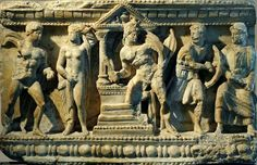 Relief of the front of Etruscan cinerary urn. Alabaster. 2nd century BCE.