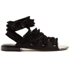 Altuzarra Wraparound frayed-tie cotton espadrilles (3,870 CNY) ❤ liked on Polyvore featuring shoes, sandals, black, boho sandals, black espadrille sandals, wrap around ankle sandals, black ankle strap sandals and ankle wrap espadrille
