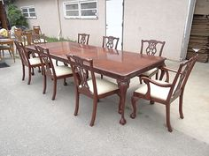 Antique Carved Mahogany Chippendale Inlaid Dining Room Set w 6 ...