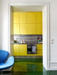 Yellow high gloss handleless kitchen cabinets