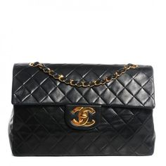 CHANEL Vintage Lambskin Quilted XL Jumbo Flap Black