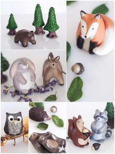 These woodland animals would be lovely cake decorations for a unique woodland wedding