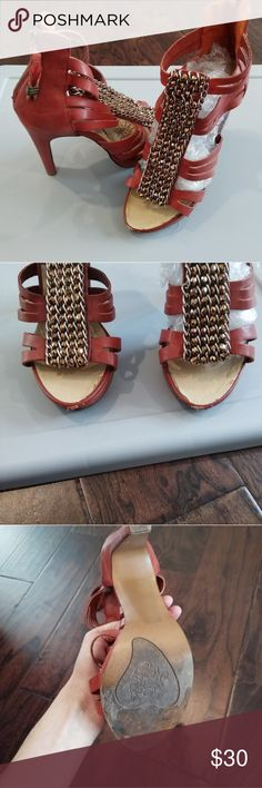 Naughty Monkey Orange Red Sandals Heels Leather upper. Overall good condition except for some scuffs/peel in the front as pictured. naughty monkey Shoes Heels