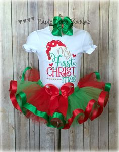 My First Christmas Ribbon Trim Tutu Outfit by PurpleDaisyBoutique
