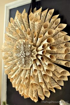 old book pages wreathes