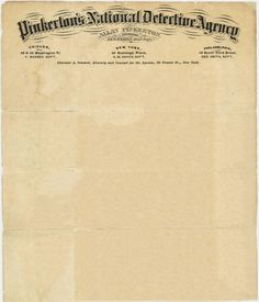 Pinkerton's National Detective Agency, 1871   Source