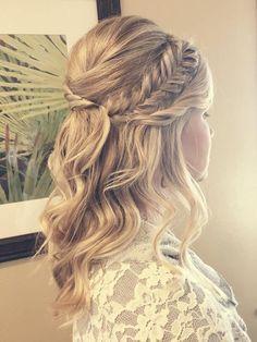 AmandaRaeBeauty.com; Wedding Hair; Bridal Hair; Santa Clarita; Los Angeles; Bridesmaid; Long Hair; Half Updo; Braid; Updo; Fishtail Braid; Blonde Hairstyles; Anastasia Beverly Hills