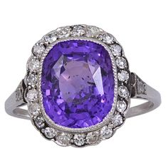 1stdibs | Purple Sapphire, Diamond & Platinum Ring