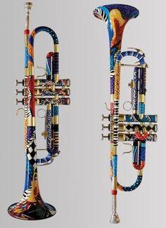 Juleez Custom Painted Trumpet --- https://www.pinterest.com/lardyfatboy/