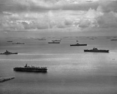 Ships of the 5th fleet Ulithi.  Look at all those carriers