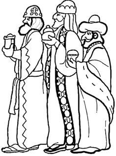 3 Wise Men coloring page from Religious Christmas category. Select from 24104 printable crafts of cartoons, nature, animals, Bible and many more.