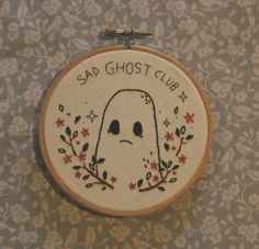 I wanted to take our own advice and make something new, so I embroidered this lil sad ghostie.He's available on the shop and he's the only one (for now!)
