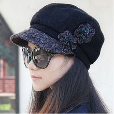 flower newsboy cap for women warm winter hat