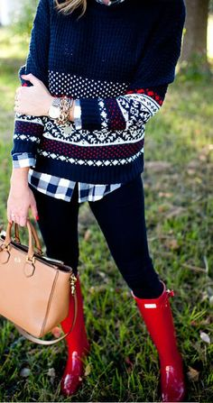 Sweater, Leggings, Red Boots