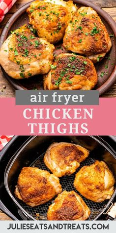 Tender, juicy chicken thighs are a quick and easy dinner recipe! These Air Fryer Chicken Thighs are coated with olive oil and then tossed with a blend of seasonings before they are cooked. This gives them a delicious flavor and crispy skin! #airfryer #chickenthighs Air Fryer Recipes Chicken Thighs, New Chicken Recipes, Air Fryer Oven Recipes, Chicken Thigh Recipes, Veggie Side Dishes, Side Dish Recipes, Easy Dinner Recipes, Food Dishes, Yummy Recipes