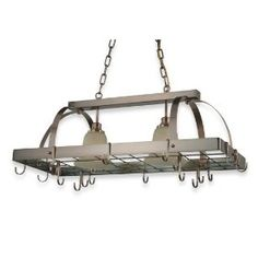 Pot Racks – Lighted pot racks for over island
