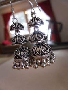 Silver Jewelry With Diamonds Silver Jhumkas, Silver Jewellery Indian, Silver Jewelry, 925 Silver, Oxidized Silver, Sterling Silver, Metal Jewelry, Diamond Jewelry, Antique Silver
