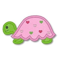 Applique TURTLE GIRL  4x4  5x7 6x10  Machine by LynniePinnie, $2.99