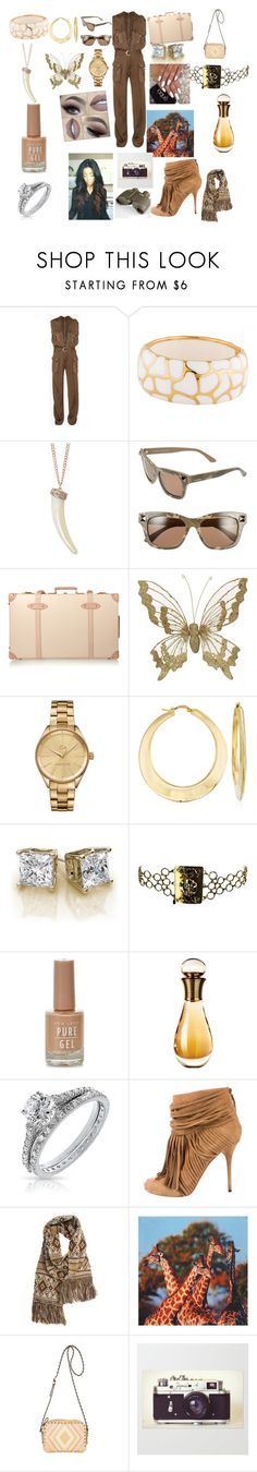 """Safari Wildlife ⛺️"" by charitykeith on Polyvore featuring Balmain, Angélique de Paris, Humble Chic, Valentino, Globe-Trotter, Lacoste, Ross-Simons, Christian Dior, Bling Jewelry and Gucci"