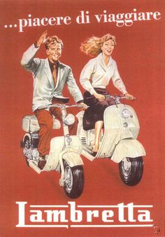 "CARS Advertising Illustration - ""..piacere di viaggiare - Lambretta"", (1954), Illustrator Unknown - Original Vintage Motorcycles Poster."