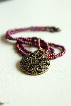 Bohemian Necklace Brass Pendant Boho Chic by nancywallisdesigns, $28.00