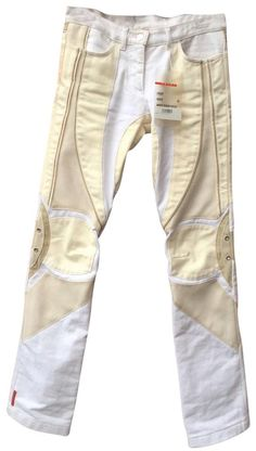 Prada   White Beige Biker Pants Size 2 (XS, 26) Fashion Details, Timeless Fashion, Fashion Design, Biker Pants, City Outfits, Conceptual Fashion, Victoria Beckham Style, White Beige, Athletic Outfits