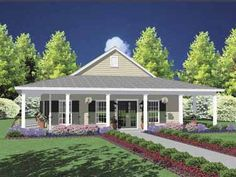 Wrap around porch house plans one story house with wrap around porch my dream house wrap . wrap around porch house Porch House Plans, House Plans One Story, House With Porch, New House Plans, Story House, Small House Plans, House Floor Plans, Texas House Plans, Southern House Plans