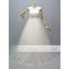 人気ウエディングドレス 格安ウェディングドレス エンパイアライン シンプル ソフトチュール 9号 11号 54443