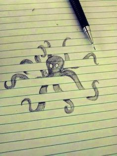 Optical illusion Drawing on lined paper