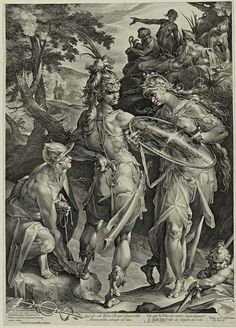 "Jan Harmensz Muller (the Netherlands, 1571-1628) after Bartholomaeus Spranger (Netherlands, 1546-1611), ""Minerva and Mercury Arming Perseus"", 1604. Photo: Cantor Arts Center, Stanford University."