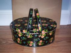 Vintage L:arge  Metal Tin Sewing Lunch Box Oval with Lid + Handles Black + Pink