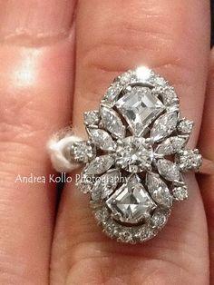 Custom 240 Carat Diamond Platinum Ring c 1920's Custom Cut Stones w/ Stabilizer offered by ArtDecoAntiques, $20000.00
