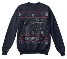 Engineer Ugly Christmas Sweater, French Navy Sweatshirt Front