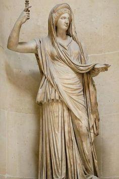 Greek Goddess Hera (Juno) Statue - The Campana Hera, a Roman copy of a Hellenistic original, from the Louvre Hellenistic Art, Greek Mythology Art, Greek Tragedy, Greek Gods And Goddesses, Roman Art, Ancient Greece, Ancient Art, Mythical Creatures, Art History