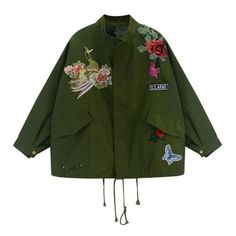 Peacock Embroidered Jacket ($44) ❤ liked on Polyvore featuring outerwear, jackets, embroidery jackets, embroidered jacket and green jacket