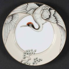 Manufacturer: Fitz & Floyd. Pattern: CRANE WITH PINE. Piece: Salad Plate. China - Dinnerware Crystal & Glassware Silver & Flatware Collectibles. Canadian and international orders. U.S. Expedited.