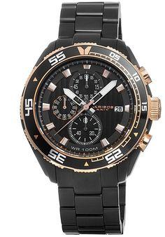 Akribos XXIV Watches Men's Chronograph Black IP Stainless Steel and Dial Black IP SS AK646BK,    #AkribosXXIV,    #AK646BK,    #Dress