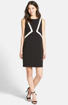 Ellen Tracy Inset Panel Shift Dress (Regular & Petite) available at #Nordstrom