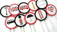 12 London Cupcake Toppers by thepartypenguin on Etsy, $10.00