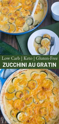 An easy zucchini au gratin recipe that's keto friendly and gluten-free. This zucchini gratin is sure to be a winner. An easy zucchini au gratin recipe that's keto friendly and gluten-free. This zucchini gratin is sure to be a winner. Sugar Free Recipes, Low Carb Recipes, Cooking Recipes, Healthy Recipes, Zucchini Au Gratin, Potatoes Au Gratin, Zucchini Bread, Blog Food, Low Carb Vegetables