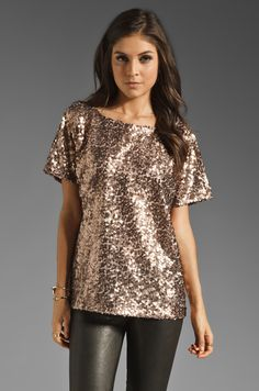 7 For All Mankind Sequin Tee in Brick Rose